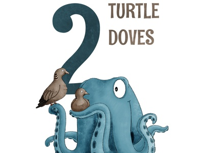 2 Turtle Doves octopus kidlit childrens illustration procreate illustration