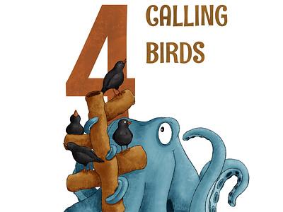 4 Calling Birds octopus kidlit childrens illustration procreate illustration