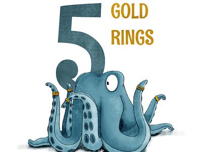 5 Gold Rings octopus kidlit childrens illustration procreate illustration