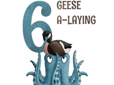 6 Geese A Laying octopus kidlit childrens illustration procreate illustration