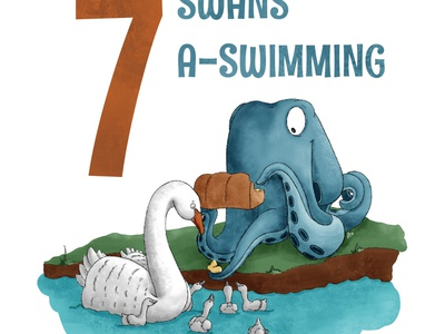 7 Swans A Swimming octopus kidlit childrens illustration procreate illustration