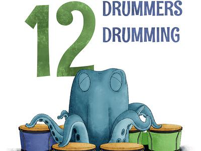 12 Drummers Drumming octopus kidlit childrens illustration procreate illustration