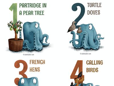 12 Days of Christmas octopus kidlit childrens illustration procreate illustration