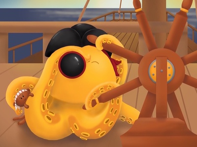 Ahoy! monkey pirate procreate illustration childrens illustration octopus