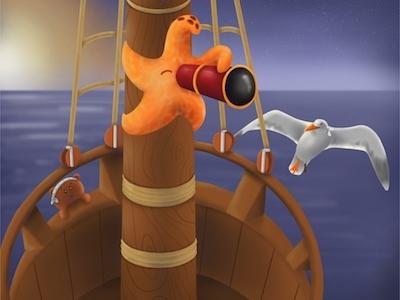 I Spy procreate sailors seagull monkey pirate starfish illustration childrens illustration