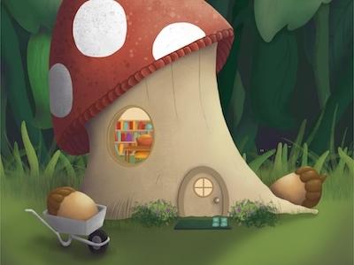 Gnome Home gnomes mushroom procreate illustration childrens illustration