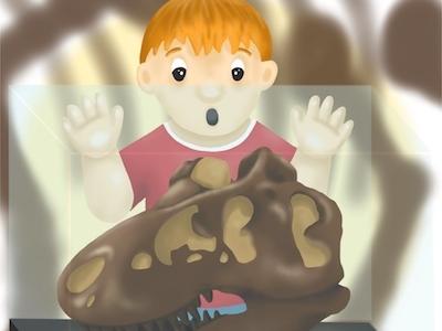 Dinosaur Surprise dinosaur skull kid child boy dinosaur illustration childrens illustration