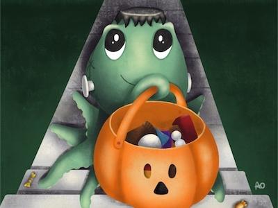 Franken Friday trick or treat frankenstein halloween octopus procreate illustration childrens illustration
