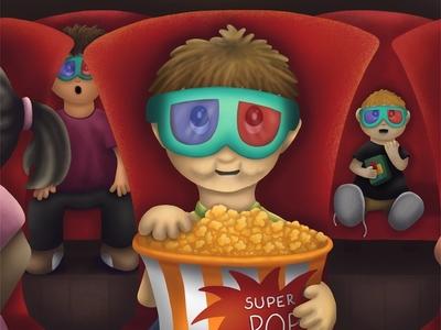 Movie Matinee kids illustration kidlit childrens illustration procreate theater movie boy