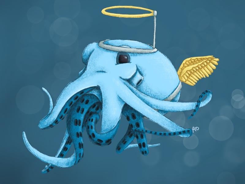 Christmas Play Angel holiday christmas angel octopus kidlit procreate childrens illustration illustration