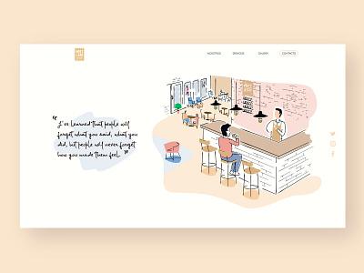 Web illustration - Meet & Eat digital art digital illustration digitalart graphicdesign sweet vintage cafeteria café illustration illustration art illustrator ilustration website design web design webdesign website