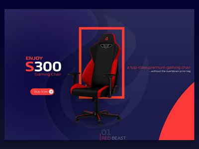 Nitro concepts S300 gaming chair landing design branding 2020 trend minimal landing page web design ui design graphic design design