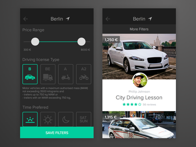 Searching for Driving Class mobile searching filters ios user interface ui app