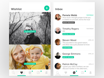 App for booking photographer app messaging wishlist clean user interface ios mobile ui