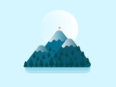 Snow Mountain island illustration mountain