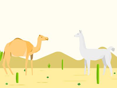 Camel & llama dating llama camel illustration