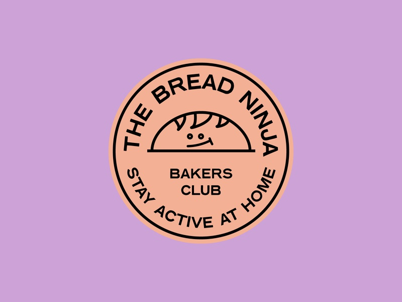 TheBreadNinja brand typography illustration icon vector bakers branding logo sticker stamp bread badge brand
