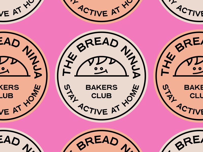 TheBreadNinja Stickers icon typogaphy vector bakers illustration logo branding bread stamps