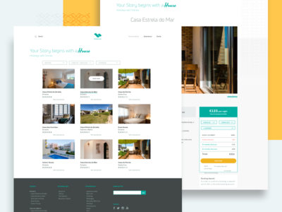 List of houses & Single Page call to action book web pages footer turism houses ux ui list