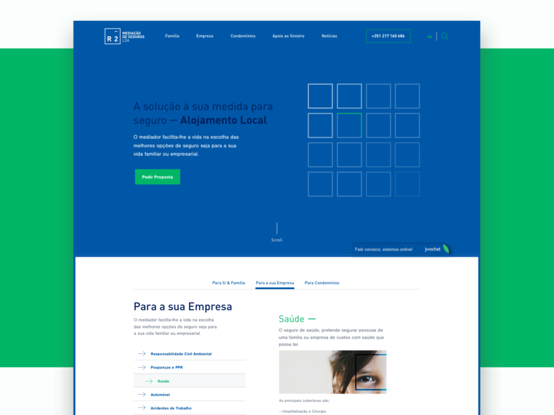 Homepage - R2 web modules system grid layout home items ui design website