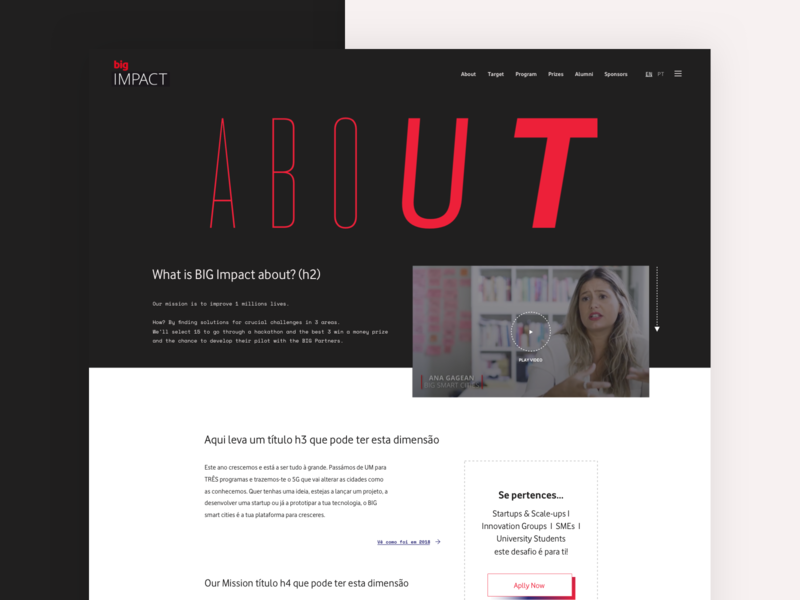 About - BigImpact 2019 layout colors typography items design website web header ui ux single
