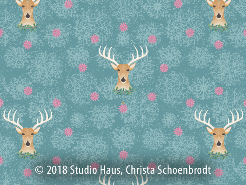 Repeat holiday reindeer pattern holiday art pattern repeat pattern