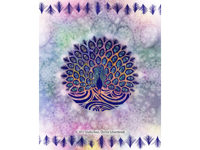 Block printed peacock peacock digital art mixed media