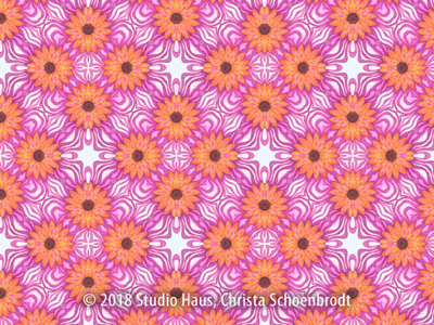Mandala pattern in pink and orange