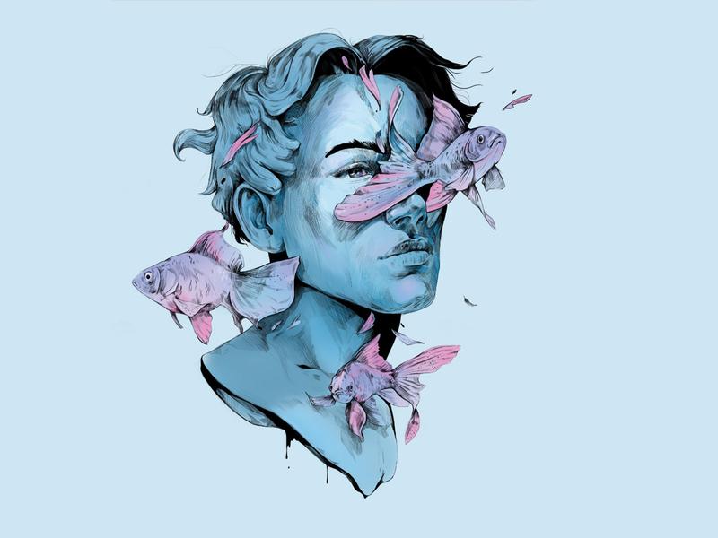 face vol_03 artwork digital art wacom pink hair eyes look water color water blue fish face illustration