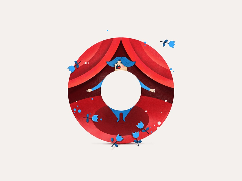 Opera for letter O opera design face typogaphy art artwork wacom adobe illustration 2d