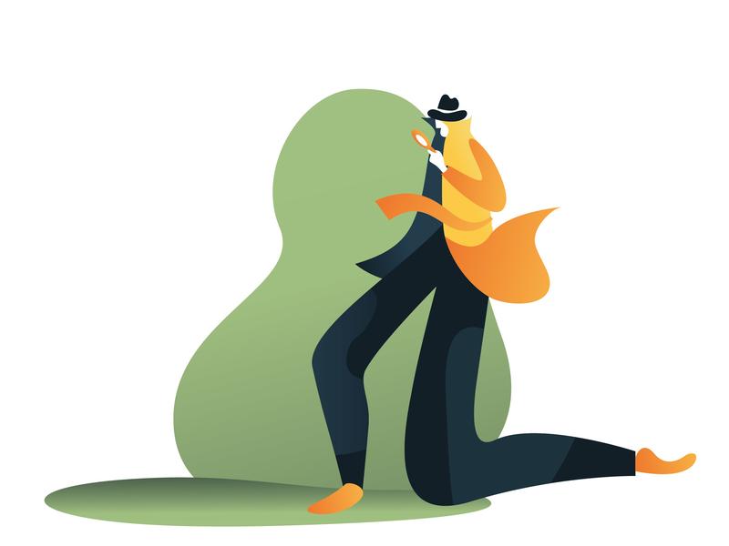 Inspector flat character inspector illustration