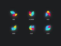 Cubism Icons illustration vector icon logo blue geometic designer app identity ui typography branding minimal flat design