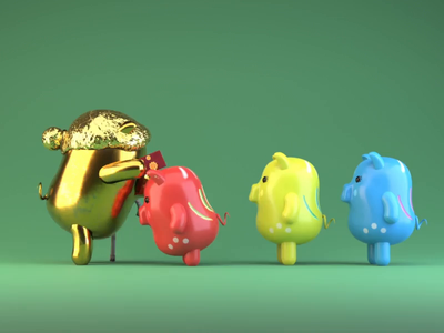 Lunar New Year - Tet 2019 - with Pomn Studio / Lucky Money motion graphics vietnamese tet 2019 design c4d motion after effects lunarnewyear lunar new year 3d kids illustration animation