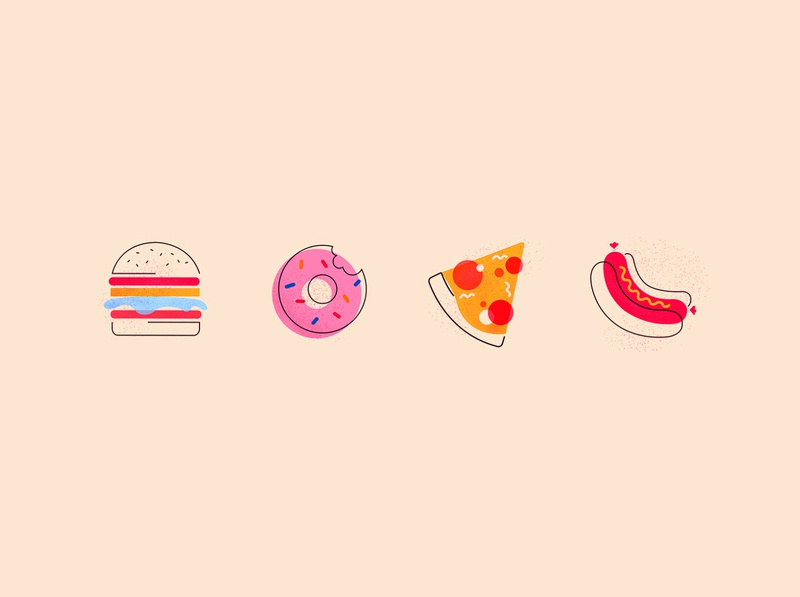 cheat day icons graphic design vector junk food cheat day hotdog pizza donut burger memphis graphic icon illustration