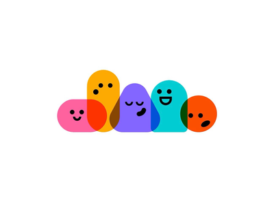 brand mascot family series family personality emotion abstract geometric overlap shapes vector colorful cmyk illustration character