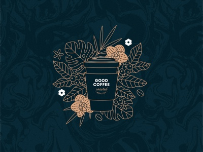 Coffee illustration marble texture logo design coffee coffeeshop coffee cup lover illustration vector xara