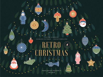 christmas retro decorations ornaments decorations new year vintage abstract christmas tree toys 50s retro christmas illustration vector xara