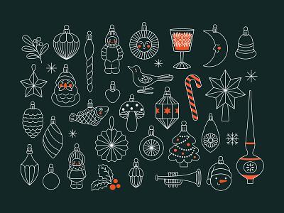 Christmas retro decorations abstract minimal toys vintage retro christmas xmas outline illustration vector xara