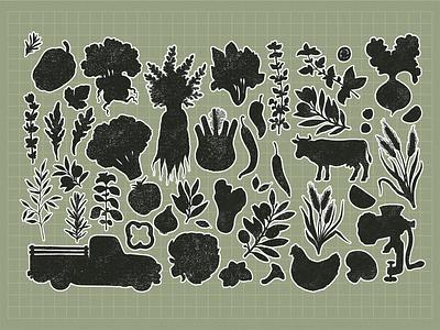 linocut vegetables silhouettes organic farm vegetables illustration vector xara linocut