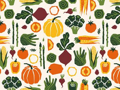 pattern papercut vegetables pumpkin beet harvest farm organic vegetables pattern illustration vector xara