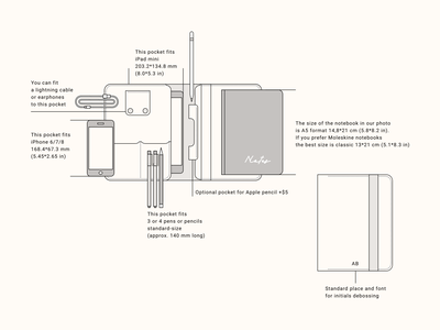 iPad leather folio design scheme specification flat line leather folio ipad etsy xara