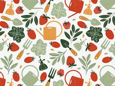 Vegetable & Herb Garden seamless greens watering can strawberry garden herb vegetable pattern illustration vector xara