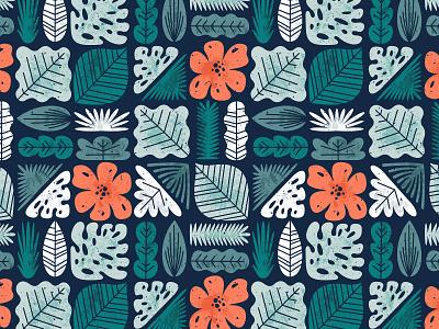 Tropical pattern xara texture vector illustration monstera plant grid hawaii retro tropical pattern