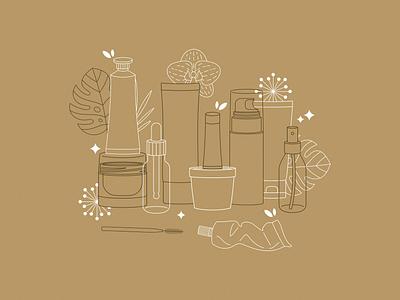 Cosmetics illustration minimalist line art organic botanical cosmetic line illustration vector