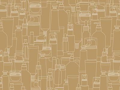Cosmetic seamless pattern gold minimalist cosmetic line pattern illustration vector xara