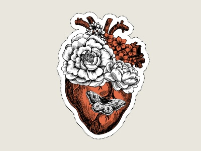 Floral Heart valentines halloween rose flower floral xara vector heart anatomical heart tattoo