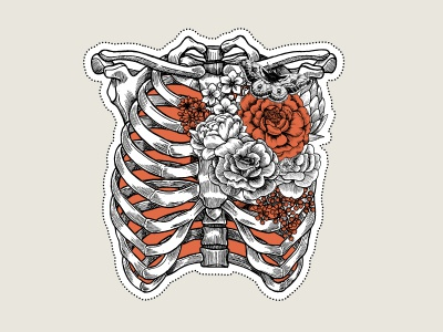 Floral Rib Cage valentines halloween rose flower floral xara vector chest skeleton rib cage tattoo