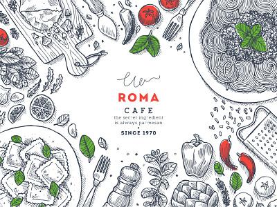 Italian food tasty food line xara vector pasta italy italian