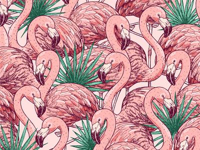 Flamingo illustration summer bird seamlesspattern tropic shutterstock stock image vector xara pink flamingo