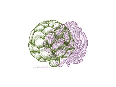 Artichoke xara vegetable vector sketch line ink illustration artichoke anaglyph 3d